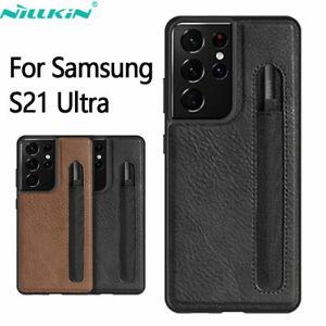 Coque En Cuir Pour Samsung Galaxy S21 Ultra Housse Étui avec Stylet S-Pen Fente