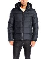 Tommy Hilfiger Men's Insulated Midlength Quilted Puffer Jacket W/ Fixed Hood