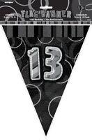 GLITZ BLACK & SILVER FLAG BANNER 13TH BIRTHDAY 3.6M/12' BIRTHDAY PARTY SUPPLIES