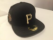 "NEW ERA PITTSBURGH PIRATES MBL FITTED HAT SZ 8"" SPECIAL GOLD EDITION NEW"