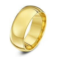 MENS OR WOMENS 18KT YELLOW GOLD PLATED PLAIN WEDDING RING BAND R336 WIDE  8MM