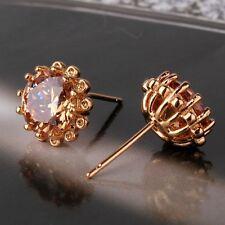 Captivating champagne sapphire 18K gold filled wedding stylish stud earring