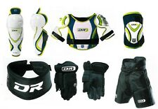 New youth large hockey pants gloves shin elbow shoulder neck DR equipment set