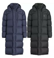 NWT Polo Ralph Lauren Mens Hooded Down Long Black Navy Puffer Jacket Parka Coat