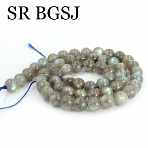 "Jewelry DIY Natural Round 2A Gemstone Gray Labradorite Beads Strand 15"" 7mm"
