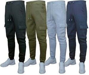 Mens Slim Fit Jogging Bottoms Cargo Combat Plain Skinny Track Sweat Pants S-2XL