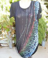 Crossroads Optical Print Oversize TUNIC Tee Size XS-10 NEW Black - Keyhole Back