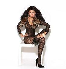Elegant Moments Black Long Sleeve Lace Bodystocking Lingerie Catsuit
