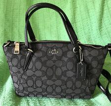 Coach F57830 Outline Signature Mini Kelsey Crossbody Bag Black /Smoke NWT