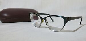 TOM FORD, Italy TF 5318 Eyeglasses 53-17-135, Green metal and iridescent arms