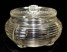 Clear Glass Ribbed Art Deco Depression Glass Trinket Jewelry Powder Box/Puff Jar