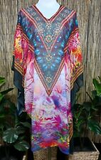 Plus Size Sheer Chiffon Embellished Kaftan Digital Printed Size 18-20-22-24