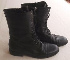 Siren Black Leather 'Dockers' Flat Boots Size 7.5
