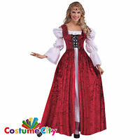 Adults Womens Deluxe Medieval Lace Up Princess Gown Tudor Fancy Dress Costume