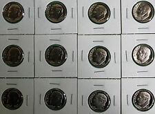 1968 thru 1979 Proof Roosevelt Dime 12 Coin Lot 10c Proof Set Coins Ten Cents
