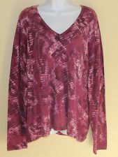 Saks Fifth Avenue V-Neck Purple Artsy Printed 100% Cashmere Sweater Sz 3X