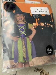 New Kids Halloween Witch Costume For Girls Available In Sizes 6-8 Years