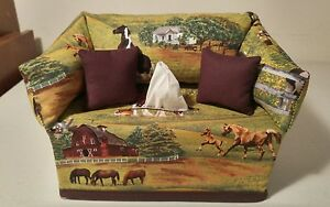 Horses on the Farm Tissue Box Cover Handmade