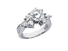 1.75Ct Round Diamond Engagement Ring Cluster Accents 950 Platinum G SI1