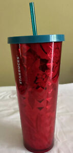 STARBUCKS Red Flowers Berries Print Faceted Cold Cup Tumbler 24 Oz #11070141