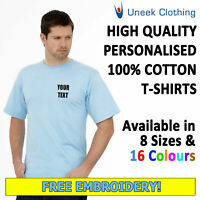 NEW Personalised Uneek Embroidered T Shirts, Workwear, Customised T shirts 302