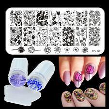 Stamping Tattoo Schablonen Stempel Platte Jelly Stamper Scraper Nail Set