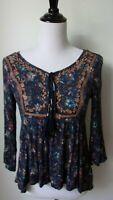 XS ALYA rayon 3/4 sleeve boho peasant tunic blouse EUC