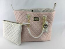Betsy Johnson Bag Purse MSRP $118 XL Tote w/Cosmetic Chain Strap Quilted 2pc