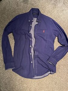 Genuine Ralph Lauren Polo Mens Blue shirt, Red horse, Check, XS