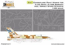 2 in 1 Camo Paint Masks for F-16I Sufa & F-16D Barkeet 1/48 + IAF Stars Stencils