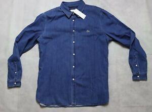 Mens Lacoste Regular Fit Jeans Denim Shirt - Indigo CH 9670 Size XXL Fr45 BNWT
