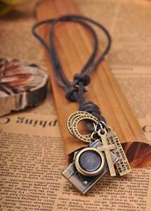 N215 Brown COOL Biker Camera Pendant Leather Cord Long Necklace Men's NEW