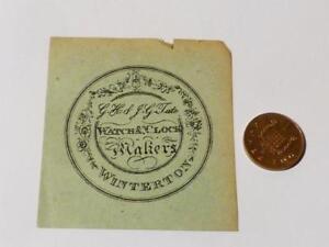 Antique 19thC Pocket Watch END PAPER GH & JG Tate WINTERTON Lincolnshire #EP22 *