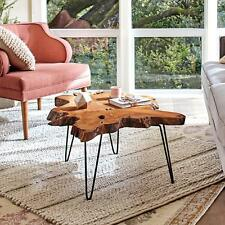 "Authentic Teak Wood Slice Coffee Table w/Metal Hairpin Legs & Heavy 2"" Thick Top"