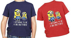 Minion Kids T Shirt I am going to be a big brother GIFT Present Cute Children