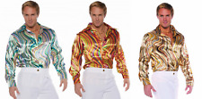 70S 80S MENS DISCO SHIRT SWIRLS COSTUME DANCE SATURDAY NIGHT FEVER PIMP SHINY