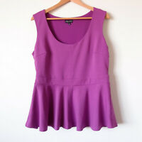 CITY CHIC Bright Purple Sleeveless Fitted Peplum Top Blouse Size Small 16 Plus