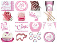 Girls Christening Pink Baby Elephant Party Cups Plates Napkins Invites Balloons