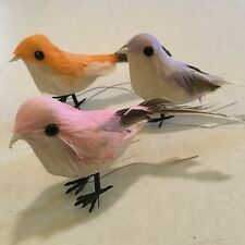 LOT OF 3! ARTIFICIAL BIRDS FOR CRAFTS 3 INCHES LONG! PRETTY PASTEL COLORS