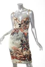 CLASS by ROBERTO CAVALLI Brown Squirrel Leaf Forest Silk Bustier Slip Dress XS/S