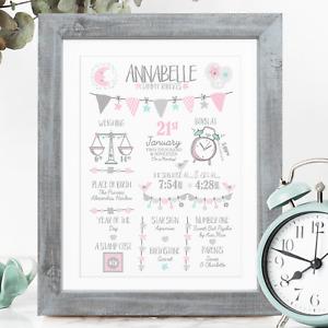 PINK Personalised New Baby Girl Gift, Baby Girl Christening / Baptism Gift