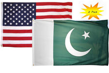 3x5 3'x5' Wholesale Set (2 Pack) USA American & Pakistan Country Flag Banner