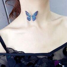 Collier Ras du Cou Choker Petit Papillon Vert Bleu Fin Insecte leger BB17