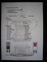 1924 FA Cup Final Newcastle United v Aston Villa Matchsheet