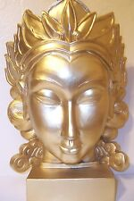 "BRAND NEW GOLD FINISH LARGE 15.5"" ASIAN FEMALE BUDAI BUDDHA HEAD STATUE NWOT"