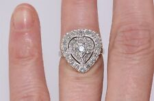 Vintage 14k White Gold 1.00 CTW Diamond Heart Shaped Cluster Cocktail Ring