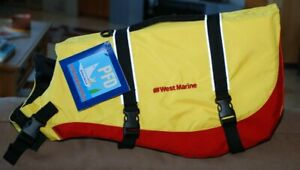 NWT, WEST MARINE DELUXE PET FLOTATION DEVICE, SIZE L, 60-90 LB DOG, RED/YELLOW
