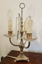 Gorgeous Mid Century Vintage French Girandole Lead Crystals Table Lamp
