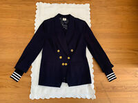 CABI Grand Slam Women sz 8 Navy Double Breasted Blazer Jacket Removable Cuff