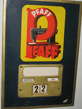 Vintage 1940 Pfaff Sewing Machine Metal Tin Cardboard Calenda Sign, Works Order